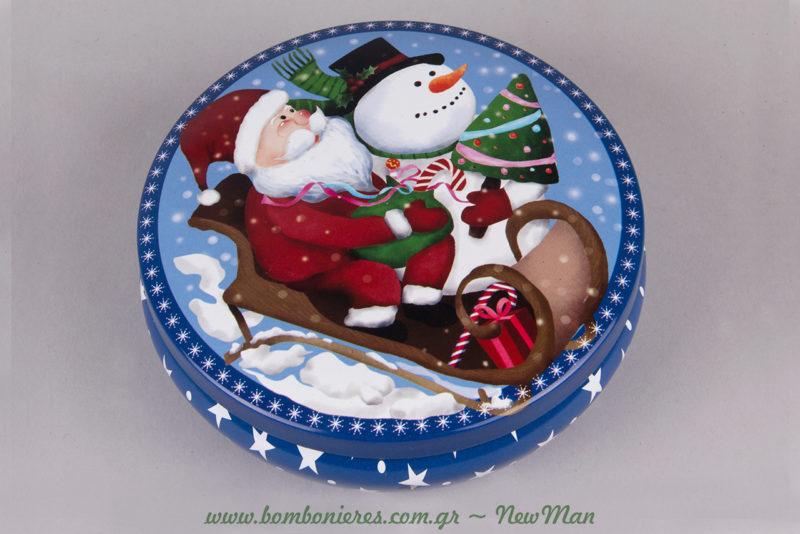 Μπλε της νύχτας, αστεράκια και Αγ. Βασίλης: στρογγυλό μεταλλικό κουτί που διατίθεται σε δυο μεγέθη (φ. 11 x 4cm, φ. 13 x 5cm).