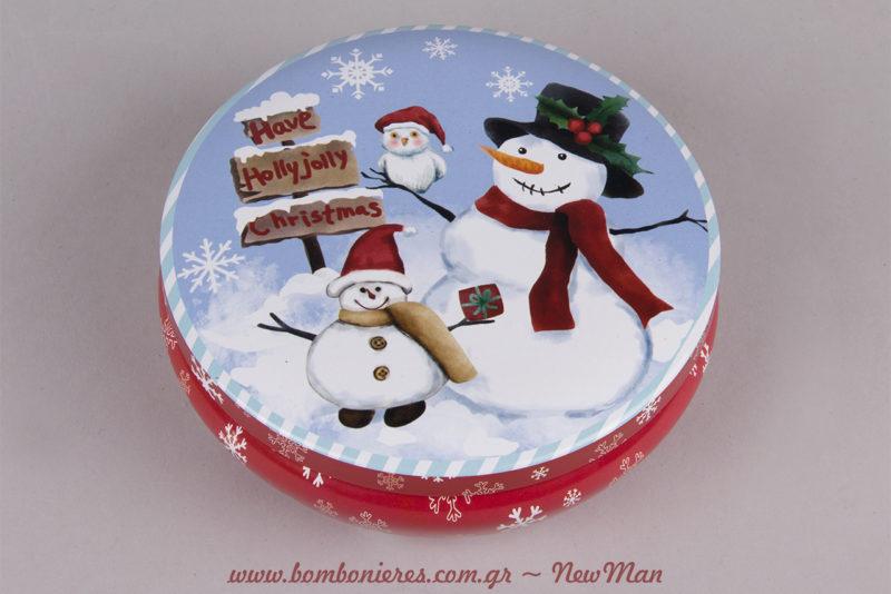 Μεγάλο στρογγυλό μεταλλικό κουτί (φ. 13 x 5cm) με οικογένεια χιονάνθρωπων που σας εύχονται: Holly Jolly Christmas!