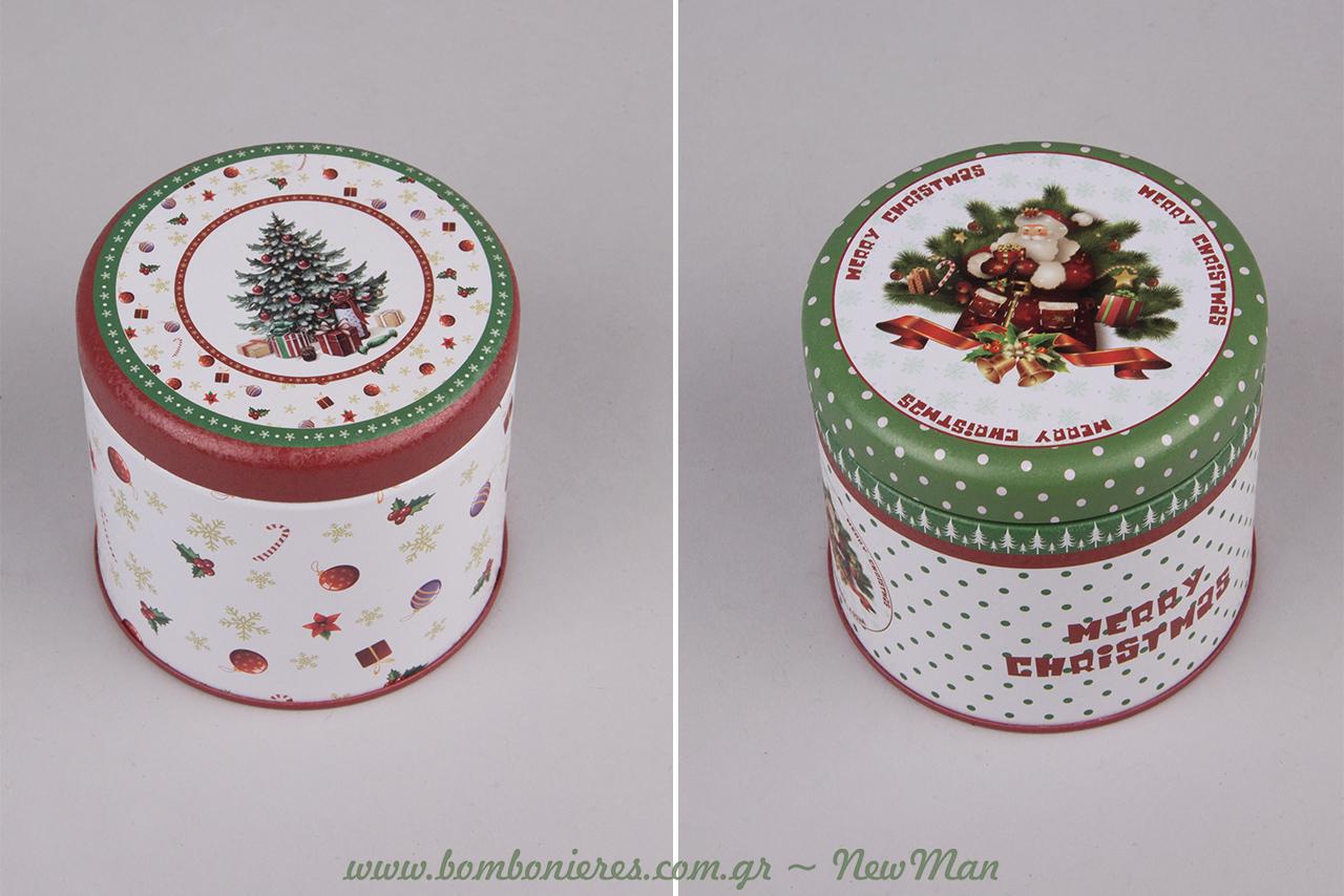 Στρογγυλά μεταλλικά κουτιά σε πράσινες-λαδί και κόκκινες αποχρώσεις με πουά μοτίβο ή μοτίβο χριστουγεννιάτικα δωράκια.