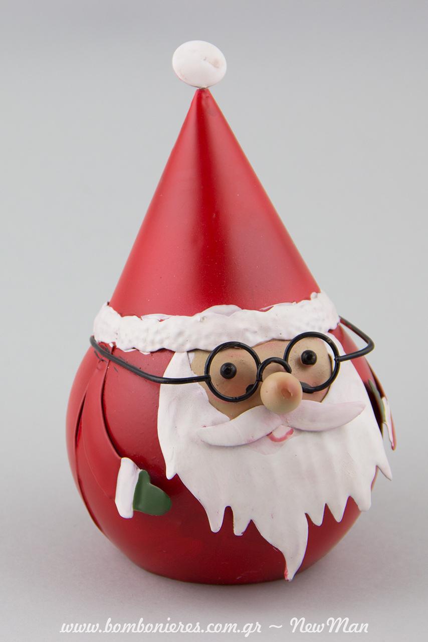 Μεταλλικός Άγιος Βασίλης σε σχήμα μπάλας. Φοράει γυαλιά κι είναι απίστευτα γλυκούλης (15cm).