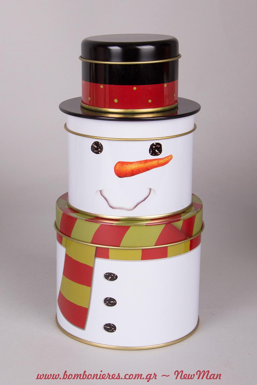 Στρογγυλά μεταλλικά κουτιά που σχηματίζουν χιονάνθρωπο. Διακοσμήστε την κουζίνα ή γεμίστε τα λιχουδιές και χαρίστε τα σε αγαπημένους σας ανθρώπους.