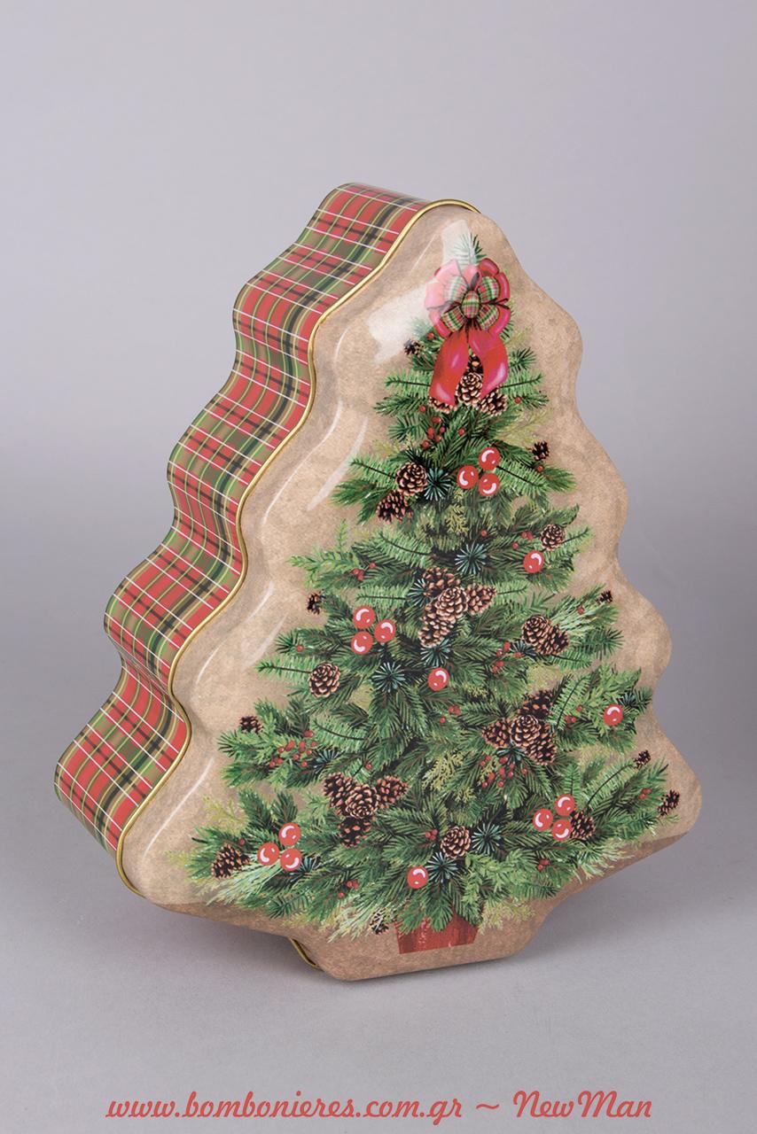Χριστουγεννιάτικο μεταλλικό κουτί (σχήμα δεντράκι) με πανέμορφες καρό λεπτομέρειες.