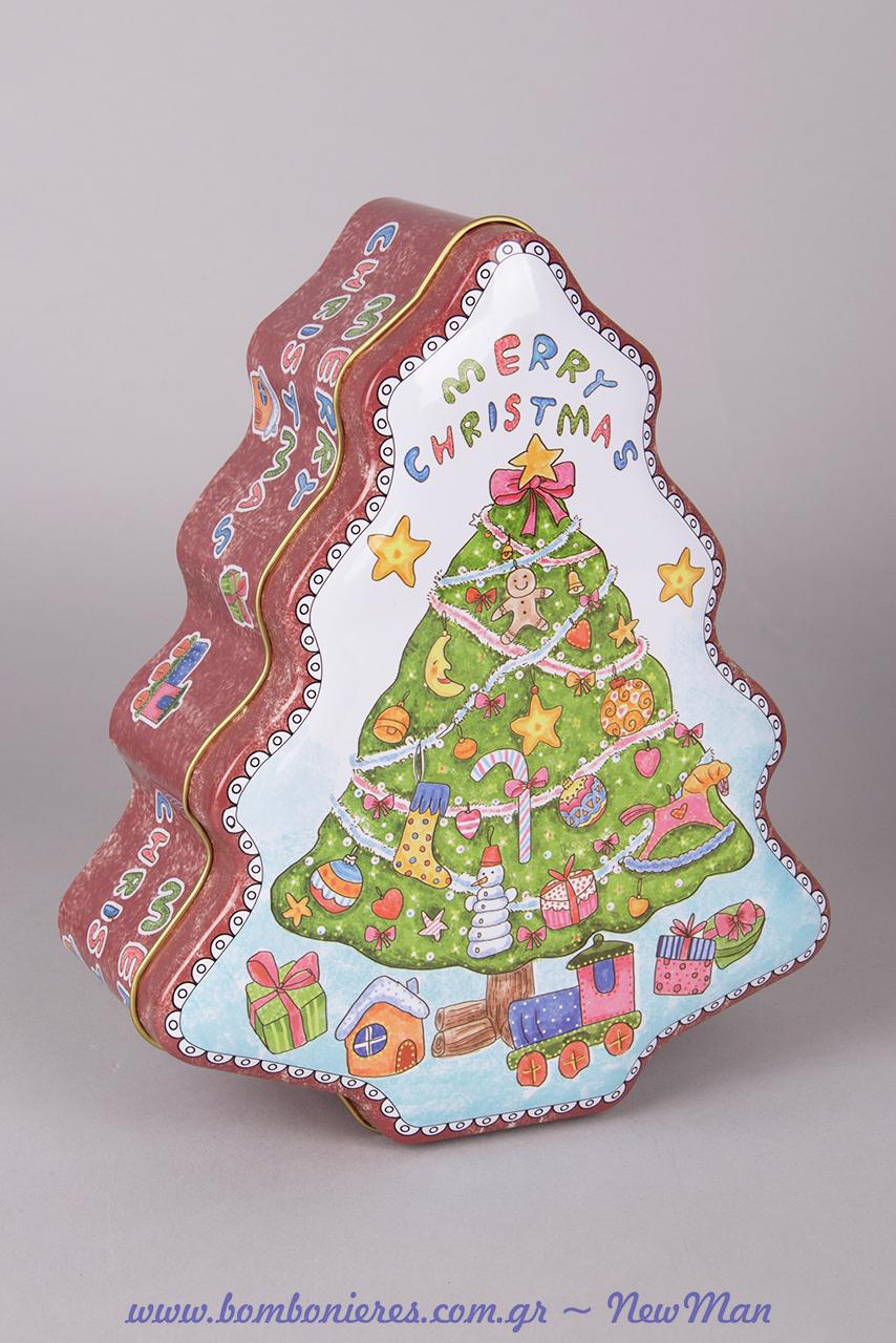 Χριστουγεννιάτικο μεταλλικό κουτί Merry Christmas (σχήμα δεντράκι) για την εορταστική σας διακόσμηση ή την αποθήκευση γλυκών.