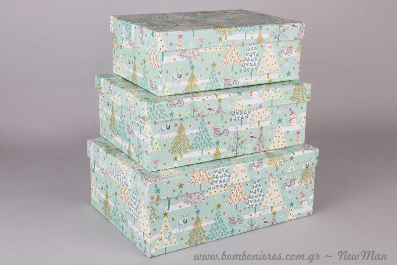Χάρτινα ορθογώνια κουτιά σε βεραμάν απόχρωση και σε πανέμορφο χριστουγεννιάτικο σχέδιο με δεντράκια.