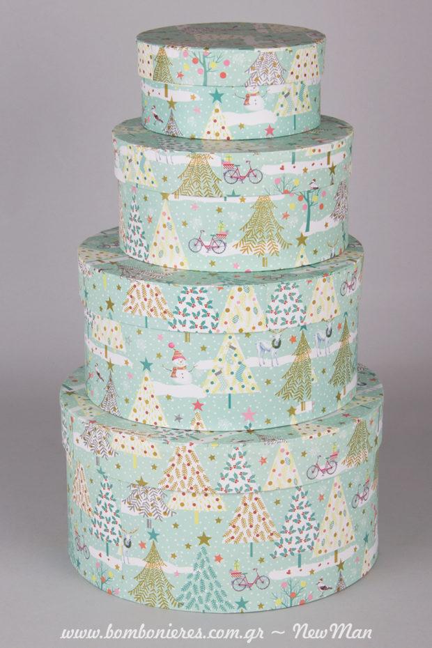 Χάρτινα στρογγυλά κουτιά σε βεραμάν απόχρωση για τα χριστουγεννιάτικα δωράκια ή την διακόσμηση σας (4 διαφορετικά μεγέθη).