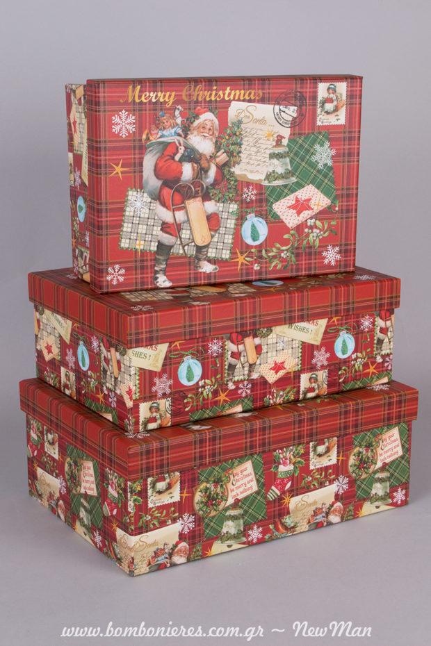 Χάρτινα κόκκινα καρό κουτιά Merry Christmas με Αγ. Βασίλη σε ορθογώνιο σχήμα (17x24x9cm, 19x27x10cm, 21x29x11cm).
