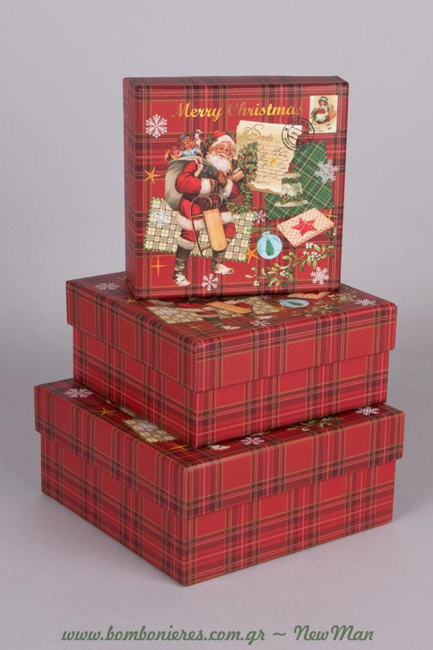 Καρό χάρτινα κουτιά με ένα σούπερ χαριτωμένο Αγ. Βασίλη στο καπάκι σε τετράγωνο σχήμα (13x13x6cm, 15x15x7cm, 17x17x8cm).