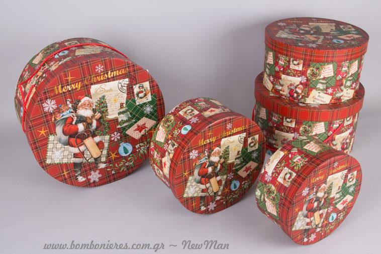 Στρογγυλά χάρτινα κουτιά σε καρό κόκκινο με Αγ. Βασίλη που σας εύχεται Merry Christmas.