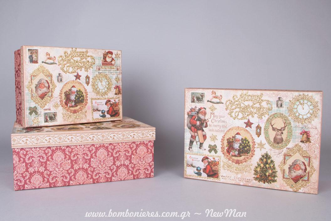 Χάρτινα χριστουγεννιάτικα κουτιά σε μπαρόκ ύφος