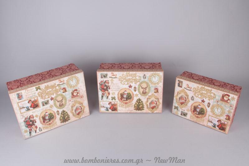 Χάρτινα ορθογώνια κουτιά σε μπαρόκ ύφος (μπορντό + χρυσές αποχρώσεις) για την πρωτοχρονιάτικη διακόσμηση και τα δωράκια σας.