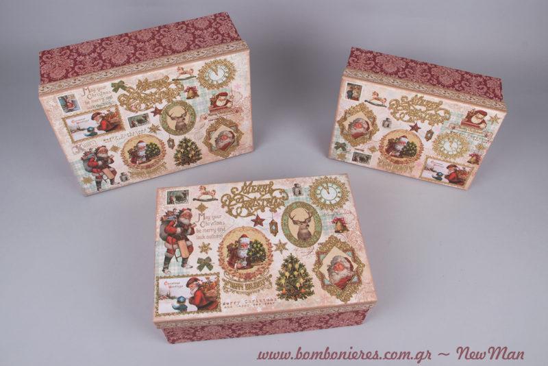 Χάρτινα ορθογώνια κουτιά σε μπαρόκ ύφος και σε τρεις διαφορετικές διαστάσεις για τις εορταστικές σας υποχρεώσεις.