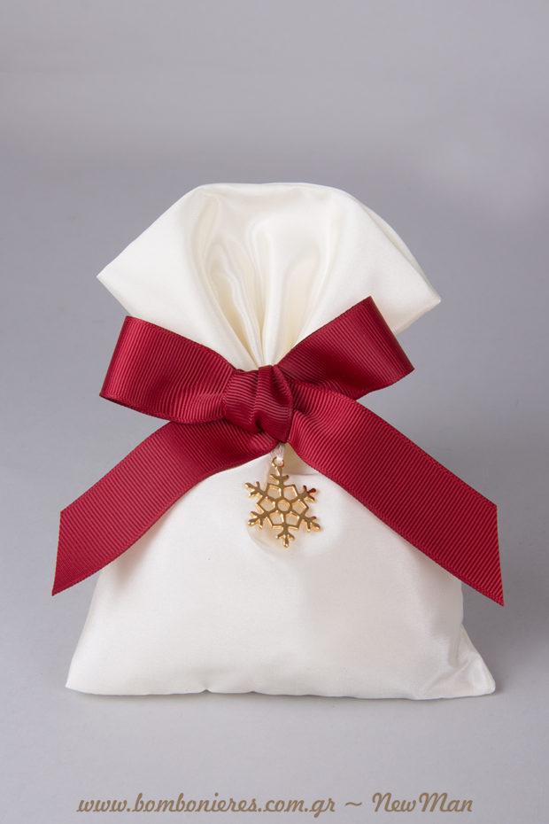 Μια μοναδική μπομπονιέρα με μεταλλική χιονονιφάδα, αντάξια της μοναδικής αγάπης σας. Δώστε της όγκο εσωτερικά, τυλίγοντας τα κουφέτα Χατζηγιαννάκης σε τούλι ελληνικό.