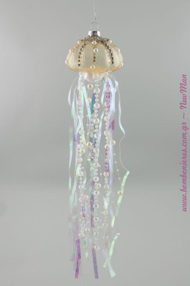 Διακοσμητική γυάλινη μέδουσα (30cm) για τη χριστουγεννιάτικη διακόσμηση ή τη διακόσμηση του γάμου και της βάπτισης.