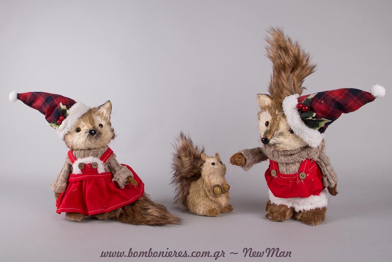 Ζωάκια του δάσους (αλεπουδίτσες και σκιουράκια) για μια χριστουγεννιάτικη διακόσμηση που θα λατρέψουν μικροί και μεγάλοι.