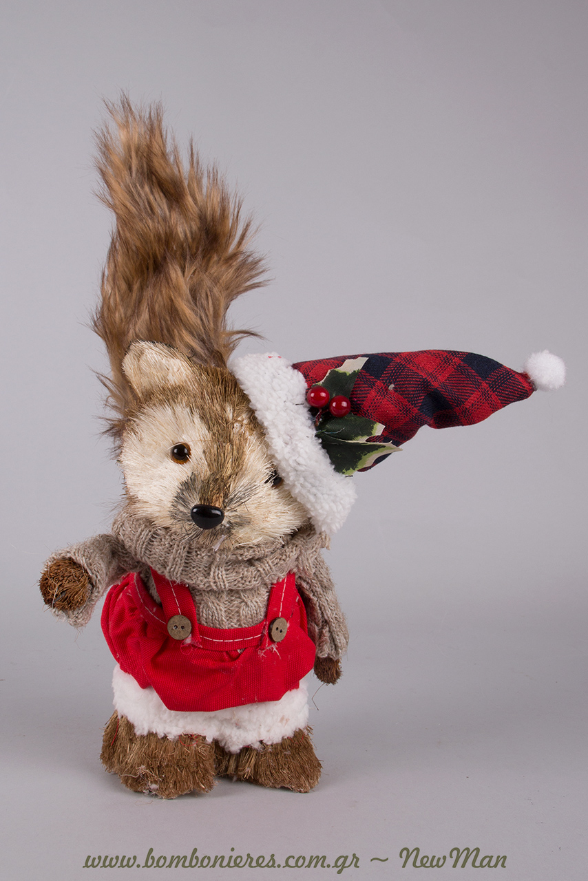 Διακοσμητικό αλεπουδάκι αγόρι (25cm) για τα δωράκια ή την χριστουγεννιάτικη διακόσμηση.
