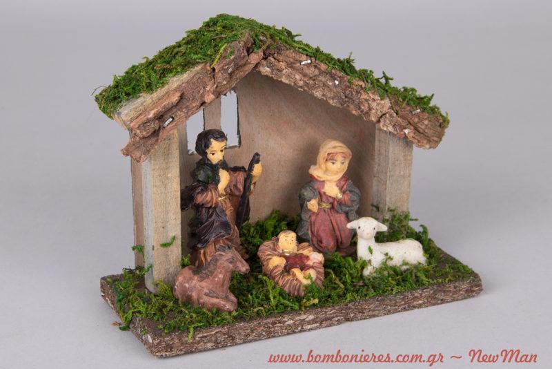 Ξύλινη χριστουγεννιάτικη Φάτνη με τη σκηνή της γέννησης χωρίς τους τρεις Μάγους (14 x 7 x 11cm).