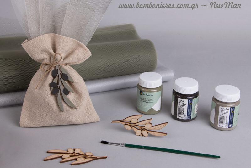 Για να ζωγραφίσετε τα ξύλινα κλαδιά ελιάς προτείνουμε τρεις αποχρώσεις: chalk paint 75ml New York, chalk paint 75ml Presque, chalk paint 75ml Agave.