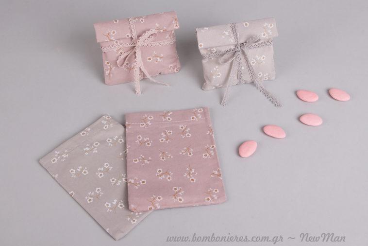 Πανέμορφα και σούπερ χαριτωμένα υφασμάτινα πουγκάκια με υπόστρωμα και φλοράλ μοτίβο σε ροζ & γκρι-σιέλ για την μπομπονιέρα του γάμου ή της βάπτισης.