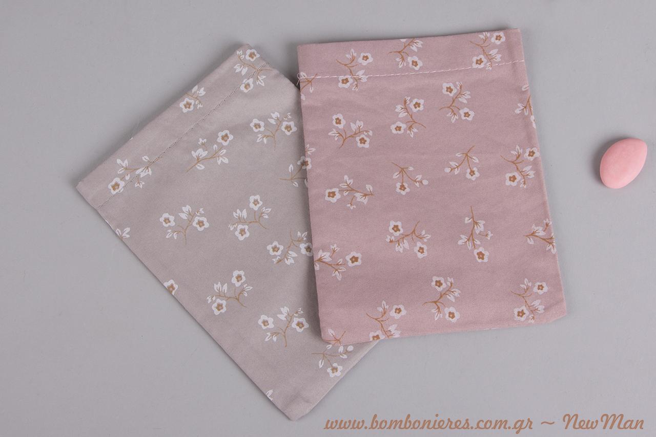 Συνδυάστε την μπομπονιέρα σε πουγκί με ανθάκια με κουφέτα σοκολάτας Χατζηγιαννάκης, Bijoux Supreme σε ροζ ή σιέλ απόχρωση.
