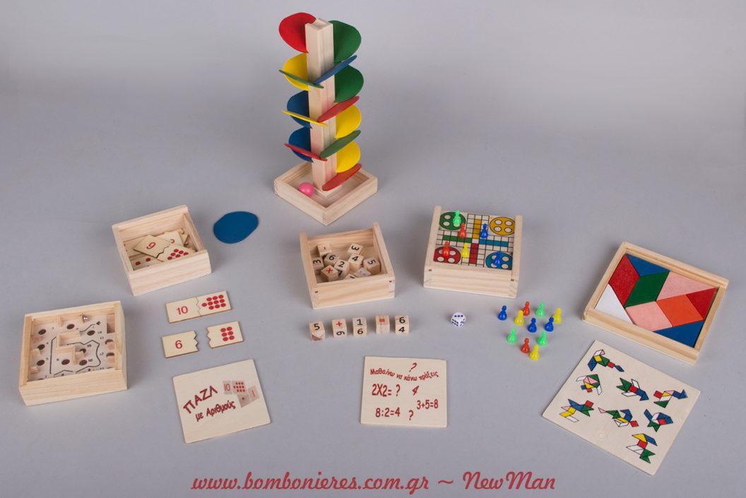 Δημιουργήστε μια vintage παιχνιδιάρικη ατμόσφαιρα για τη βάπτιση ή το παιδικό πάρτι, χρησιμοποιώντας ξύλινα επιτραπέζια παιδικά παιχνίδια.