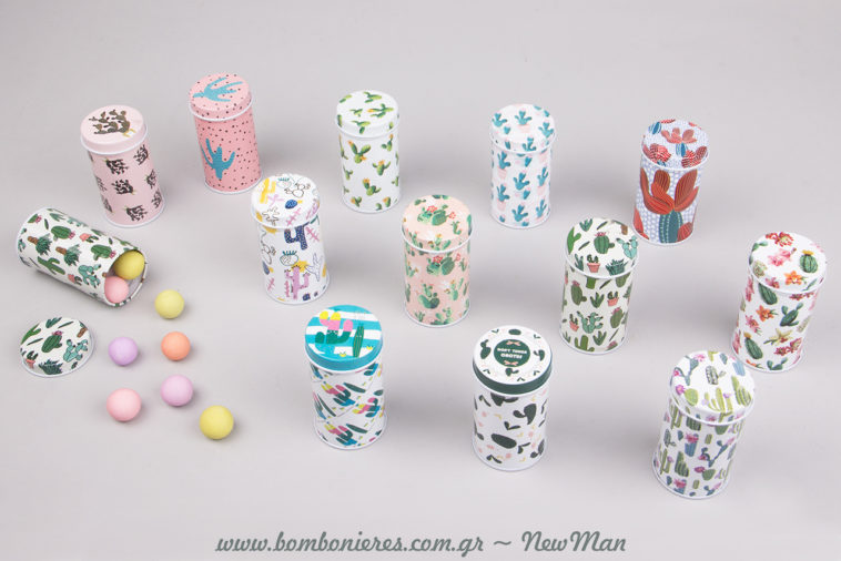 Μπομπονιέρες κακτάκια-κουτάκια σε 12 διαφορετικά σχέδια και χρώματα για να διαλέξετε το/τα δικά σας αγαπημένα.