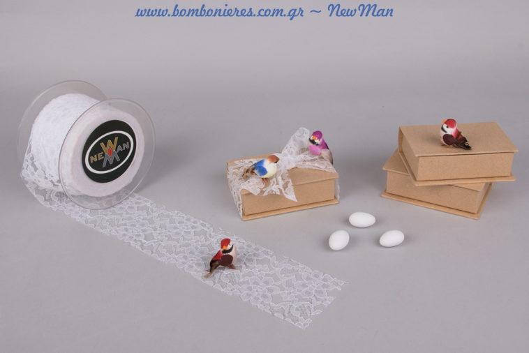 Μια σούπερ συμβολική μπομπονιέρα σε χάρτινο κουτί-βιβλίο Kraft, διακοσμημένο με υφασμάτινη δαντέλα Venezzia και διακοσμητικά πουλάκια.