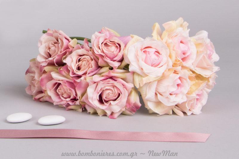 Μεσαίο μπουκέτο (6 τριαντάφυλλα) για τη διακόσμηση και το στολισμό του ρομαντικού σας γάμου.