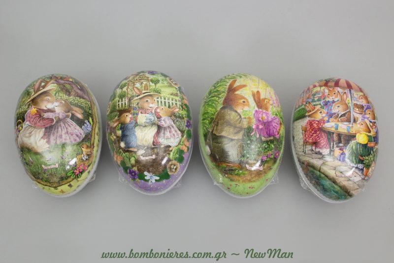 Πασχαλινά κουτιά σε σχήμα αβγού με πρωταγωνιστές τα σούπερ χαριτωμένα πασχαλινά λαγουδάκια που τόσο αγαπάμε.