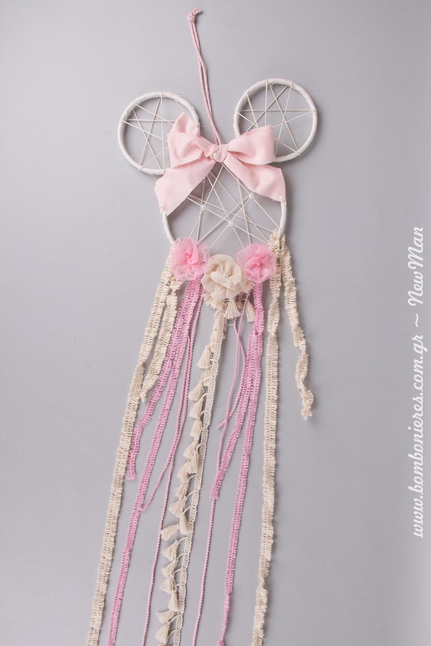 Ονειροπαγίδα Μίνι Μάους σε ροζ αποχρώσεις, φτιαγμένη αποκλειστικά από τελάρα κεντήματος, κορδέλες και βαμβακερές τρέσες σε διάφορα φάρδη και σχέδια.