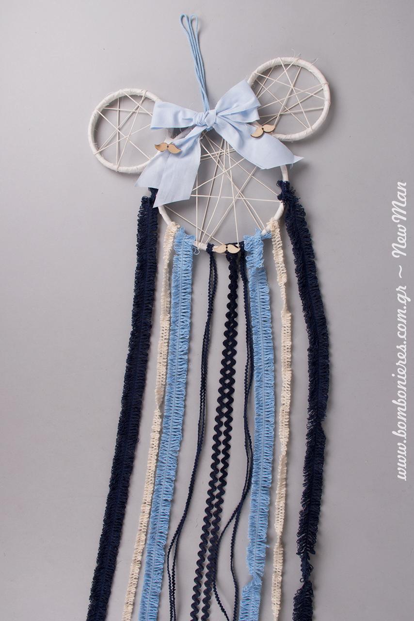 Ονειροπαγίδα Μίκυ Μάους σε σιέλ-μπλε αποχρώσεις, κατάλληλη τόσο για το στολισμό της αγορίστικης βάπτισης όσο και για ένα ξεχωριστό παιδικό δωμάτιο.
