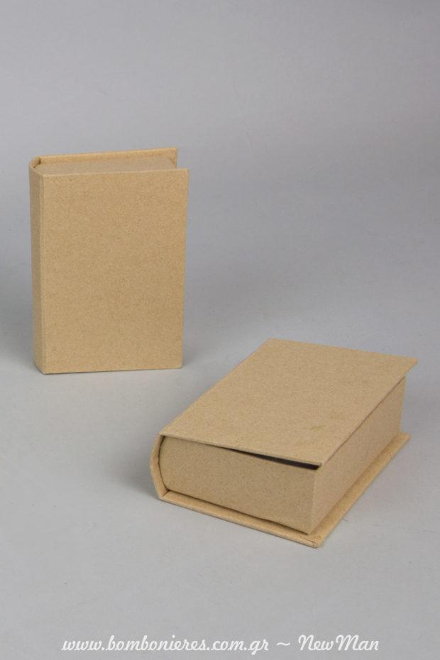 Χάρτινα κουτιά/βιβλία kraft (7 x 10 x 3cm) για μπομπονιέρες. Διατίθενται μεμονωμένα ή ανά 6 τεμάχια.