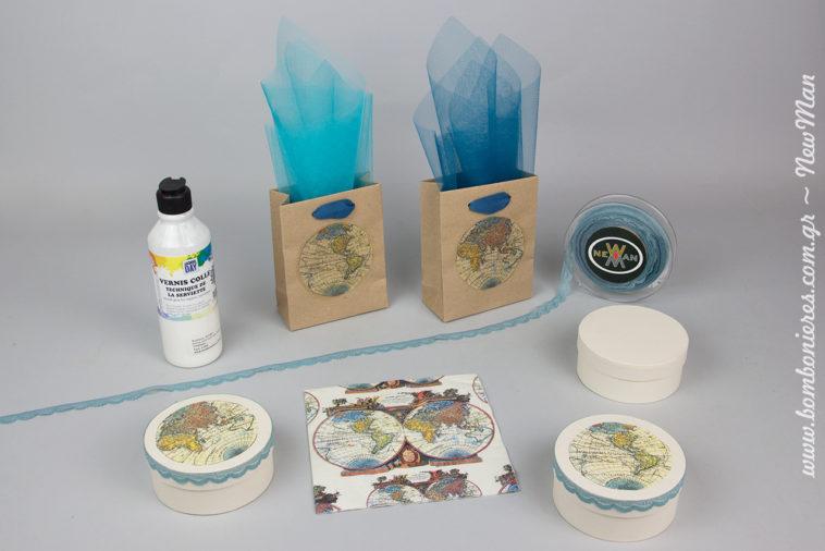 DIY μπομπονιέρα σε χάρτινο κουτί ή τσαντάκι kraft με τη τεχνική ντεκουπάζ και έμπνευση τον παγκόσμιο χάρτη και την υδρόγειο.