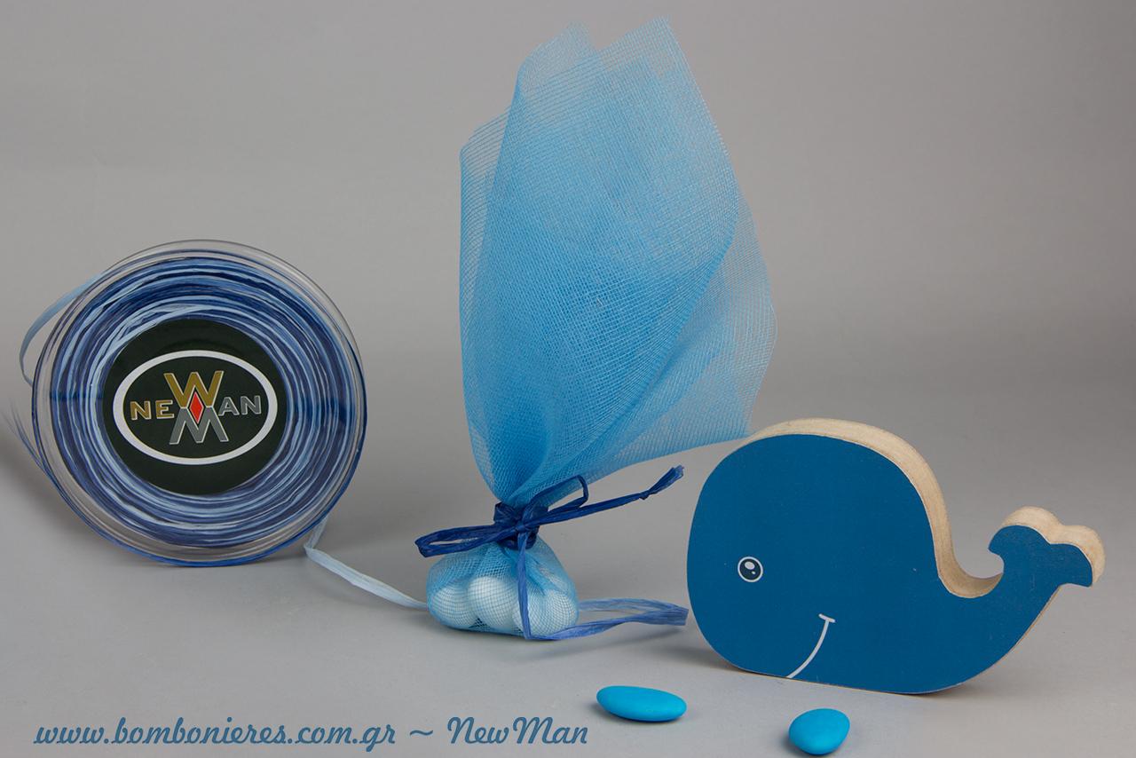 Θέμα φάλαινα για τη βάπτιση του μικρού σας μπόμπιρα. Ένα καλοκαιρινό θέμα σε μπλε αποχρώσεις που θα ξεχωρίσει.