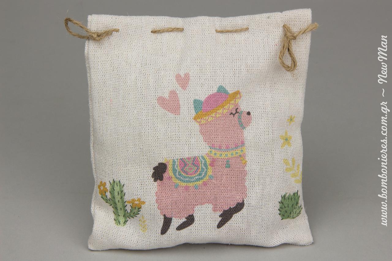 Μπομπονιέρα «Sweet baby Llama» σε πουγκί από καραβόπανο. Υπέροχο σχέδιο-θέμα που θα κλέψει καρδιές.