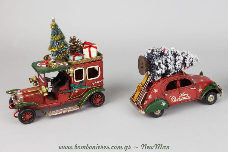 Diakosmitikos Citroen 2CV Merry Christmas kai amaksi Old Timer fortwmeno me dwra.