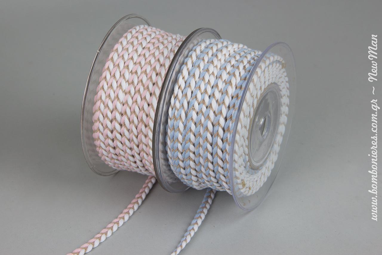Kordoni pleksoyda dixrwmo se lefko/roz i lefko siel (8mm x 20m).