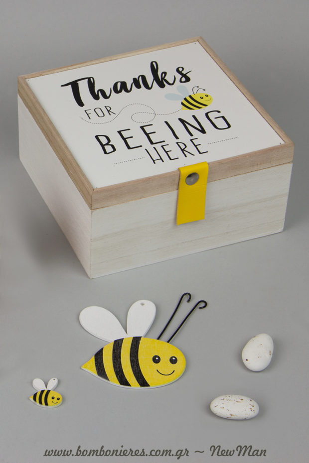 Xylino kouti «Thanks for Beeing here» kai ksylines melissoyles se dyo diastaseis: (7 x 8cm), (21 x 25mm).
