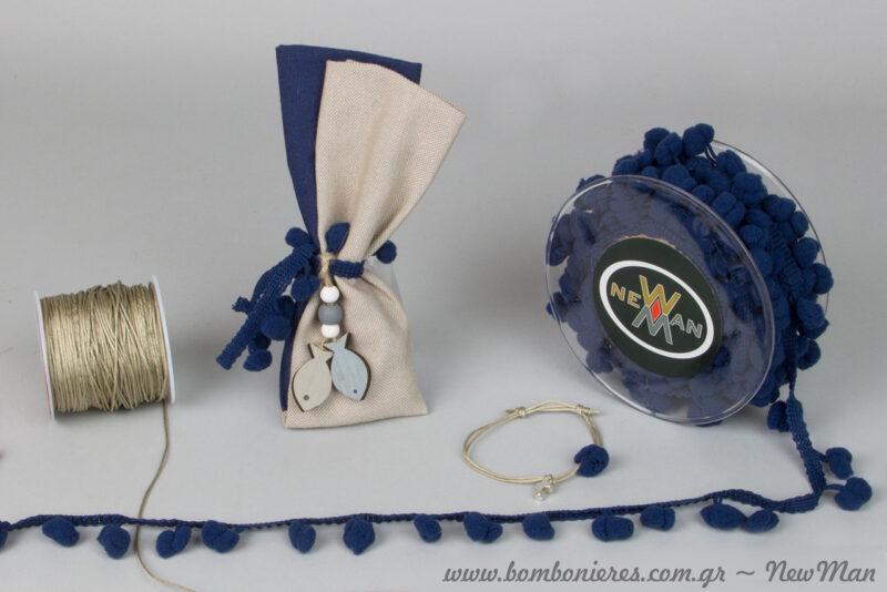 Something navy blue για την αγορίστικη βάπτιση. Μπομπονιέρες και μαρτυρικά διακοσμημένα με Pons-Pons και ξύλινα διακοσμητικά με θαλασσινές αναφορές.