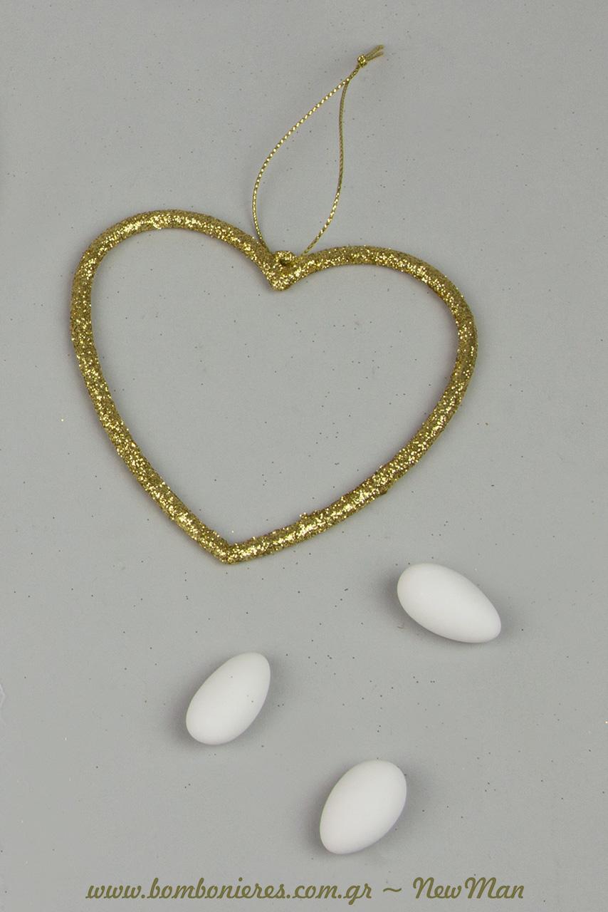 Kremasti diakosmitiki kardia me gkliter se xrysi apoxrwsi (10cm) kai koufeta Xatzigiannakis Pikramygdalo.