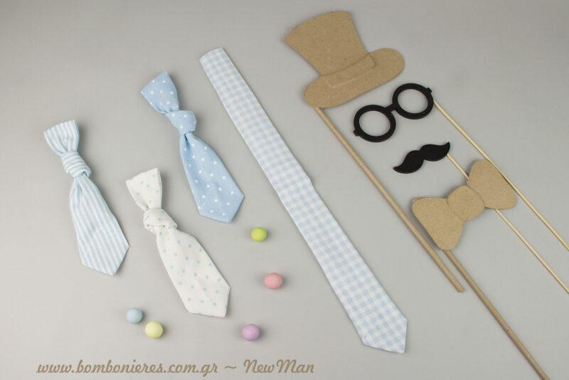 Θέμα Μικρός Κύριος (Little Man) και μπομπονιέρες-γραβάτες σε σιέλ αποχρώσεις για τη βάπτιση του μικρού σας.