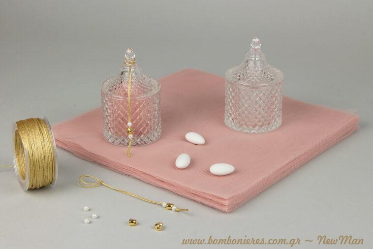 Vintage yfos gia tin mpomponiera tou gamou i tis koritsistikis vaptisis se gyalini fontaniera kai dusty pink apoxrwseis.