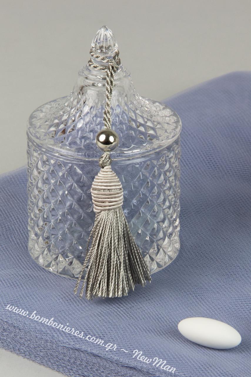 Gyalini kylindriki fontaniera (9.5cm) syndyasmeni me foynta gyalisteri kai perla se asimi apoxrwsi (15cm).