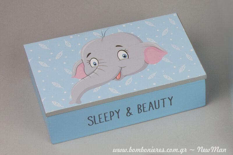 Sleepy & Beauty: xylino kouti me sxedio elefantaki (15 x 9 x 4.5cm) gia ti diakosmisi i tis mpomponieres sas.