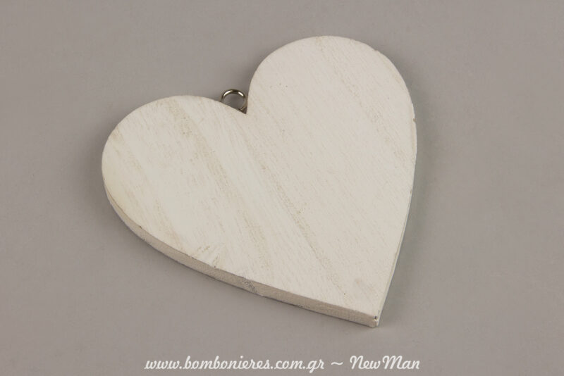 I kremasti ksylini kardia se lefko xrwma (11cm) einai i vasi tis romantikis aftis mpomponieras pou tha klepsei… kardies.