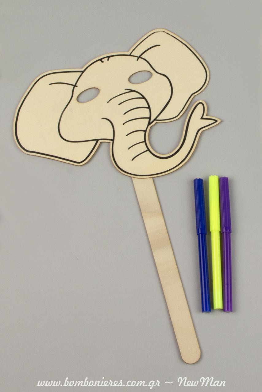 KSylini maska elefantas kai markadoroi se mple, kitrino kai mwv xrwma.